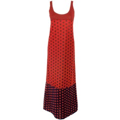 Rudi Gernreich Red & Navy Check Knit Sleeveless Long Dress
