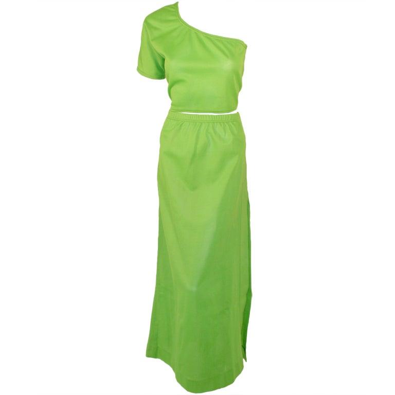 Rudi Gernreich Green Knit One Shoulder S/S Crop Top & Long Skirt