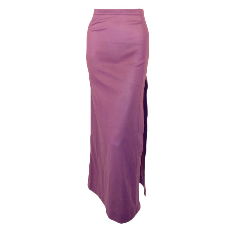 Rudi Gernreich Purple Knit Long Maxi Skirt w/ Side Slit, Size 8