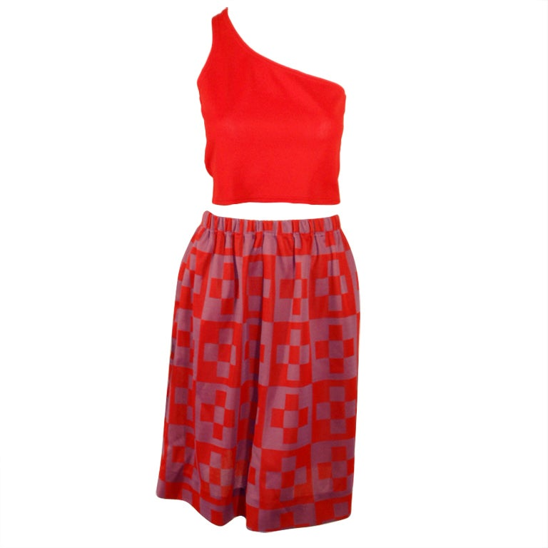 Rudi Gernreich 2 pc. Red Knit 1 Shoulder Top, Red & Purple Skirt