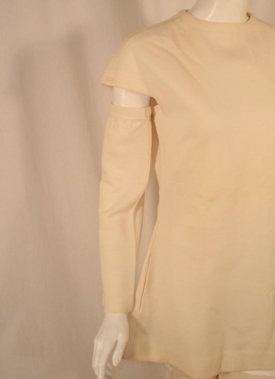 Rudi Gernreich White Wool Knit Tunic Dress w/ Leg & Arm Warmers 8