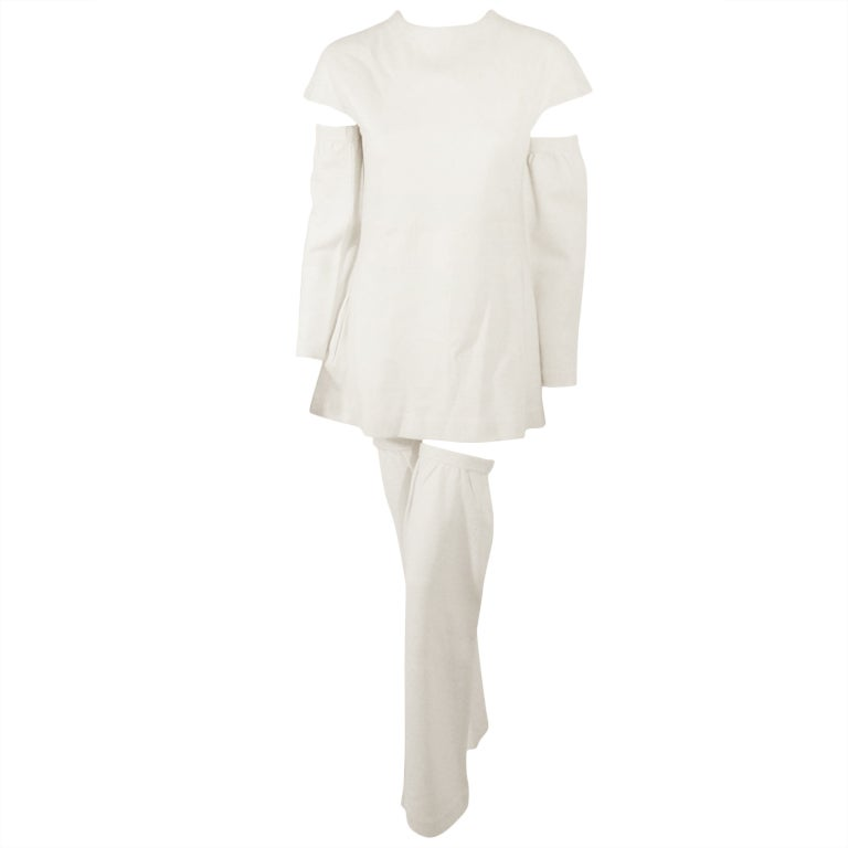 Rudi Gernreich White Wool Knit Tunic Dress w/ Leg & Arm Warmers 1