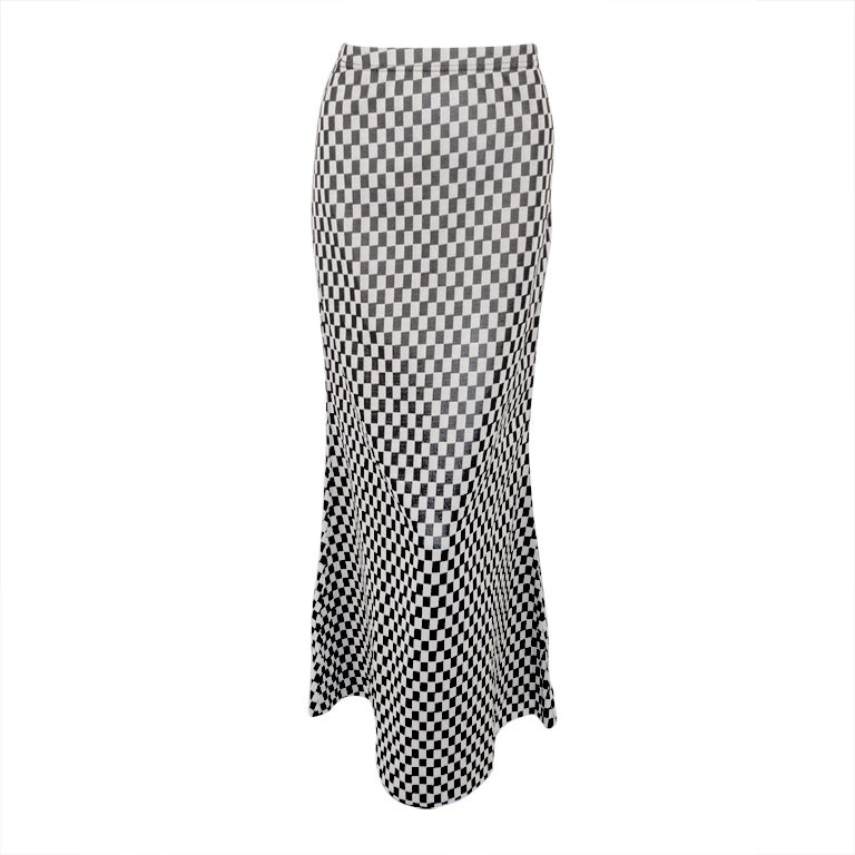 Rudi Gernreich Vintage Black & White Check Long Skirt