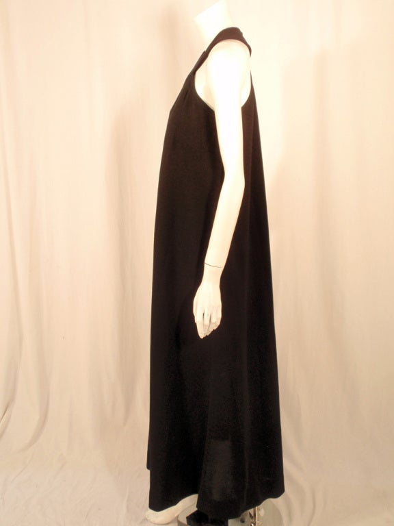 Women's Rudi Gernreich Black Wool Knit Sleeveless Long Gown For Sale