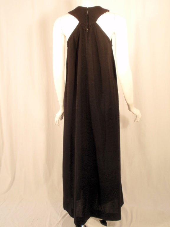 Rudi Gernreich Black Wool Knit Sleeveless Long Gown For Sale 1