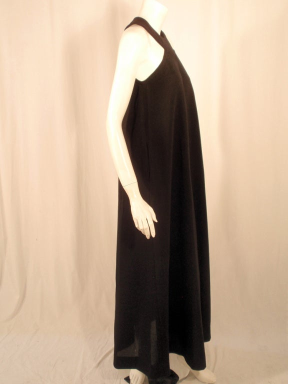 Rudi Gernreich Black Wool Knit Sleeveless Long Gown For Sale 2