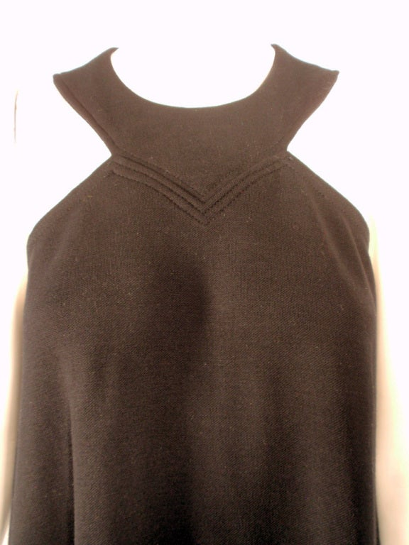Rudi Gernreich Black Wool Knit Sleeveless Long Gown For Sale 3