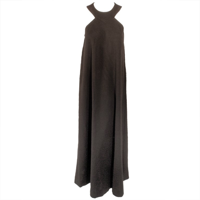 Rudi Gernreich Black Wool Knit Sleeveless Long Gown For Sale