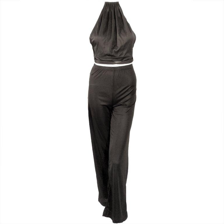 Rudi Gernreich 2 pc. Black Halter Wrap Top & Wide Leg Pants