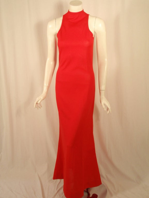 Rudi Gernreich Red Knit Sleeveless Gown with High Neck 2
