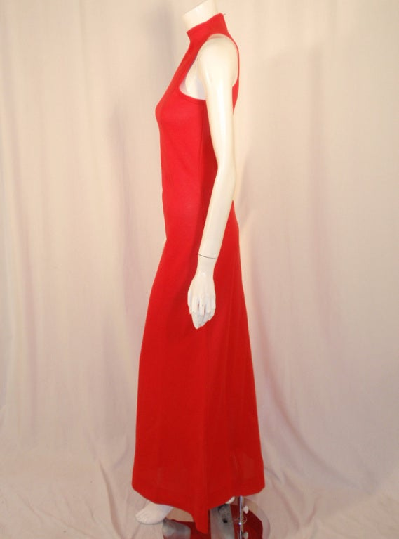 Rudi Gernreich Red Knit Sleeveless Gown with High Neck 4