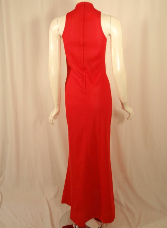 Rudi Gernreich Red Knit Sleeveless Gown with High Neck 5