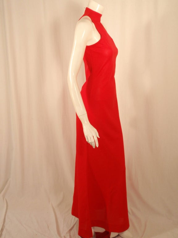 Rudi Gernreich Red Knit Sleeveless Gown with High Neck 6