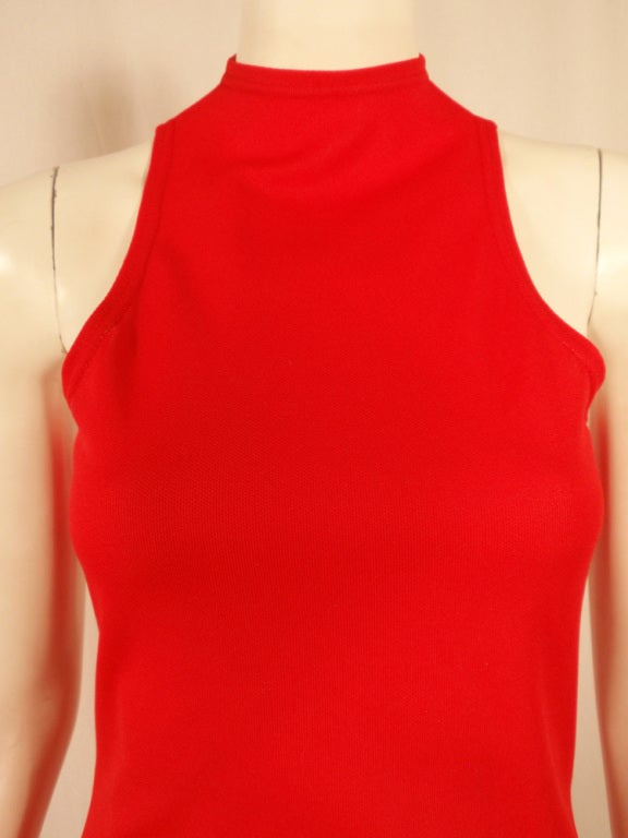 Rudi Gernreich Red Knit Sleeveless Gown with High Neck 7