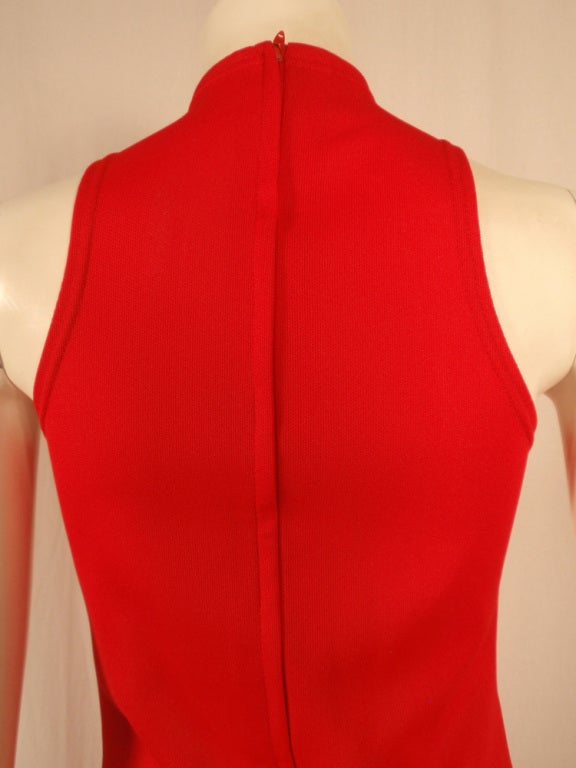 Rudi Gernreich Red Knit Sleeveless Gown with High Neck 8