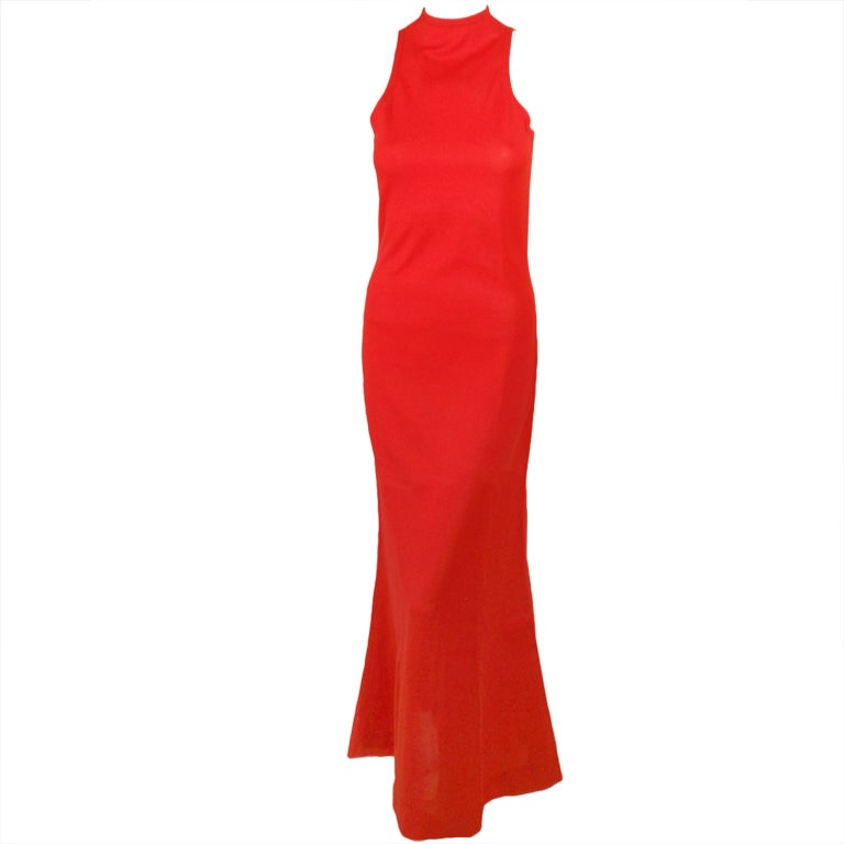 Rudi Gernreich Red Knit Sleeveless Gown with High Neck 1