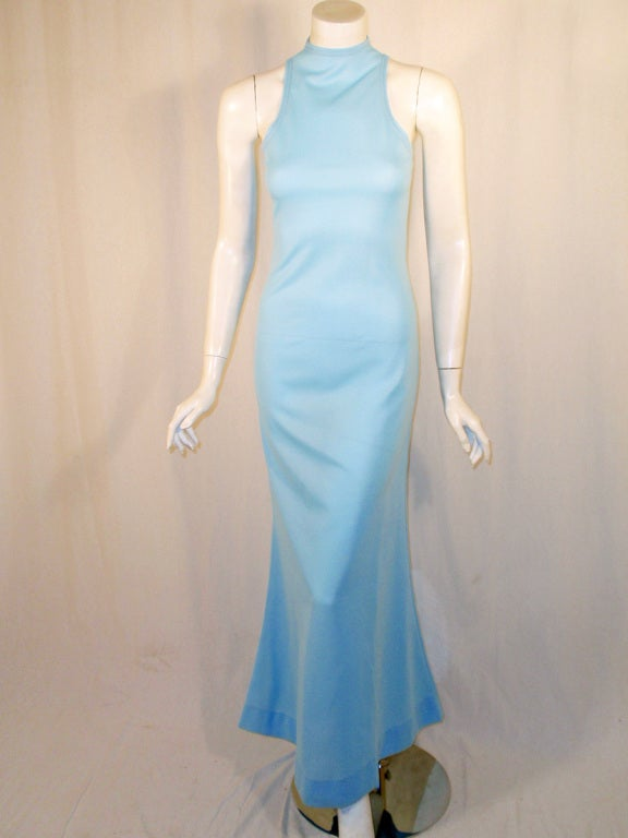 Rudi Gernreich Light Blue Knit Long Sleeveless Dress, High Neck 2