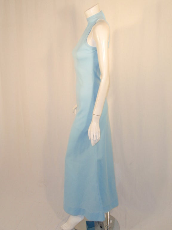 Rudi Gernreich Light Blue Knit Long Sleeveless Dress, High Neck 4