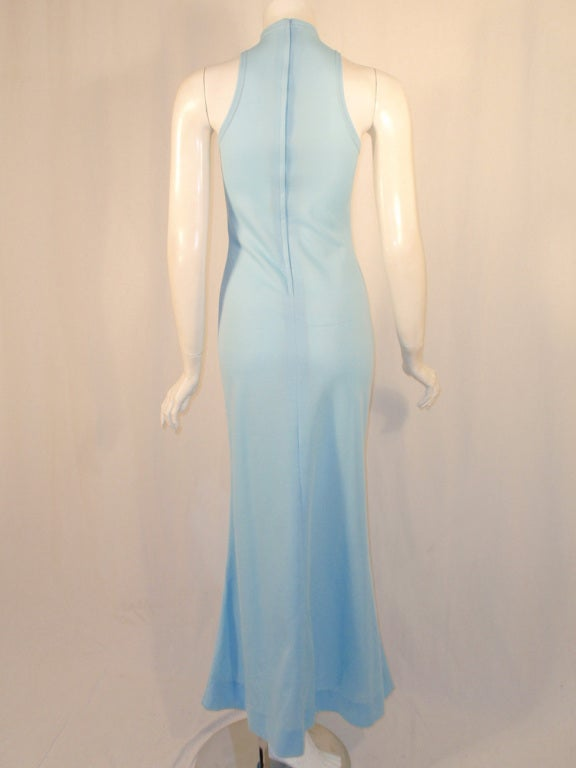 Rudi Gernreich Light Blue Knit Long Sleeveless Dress, High Neck 5