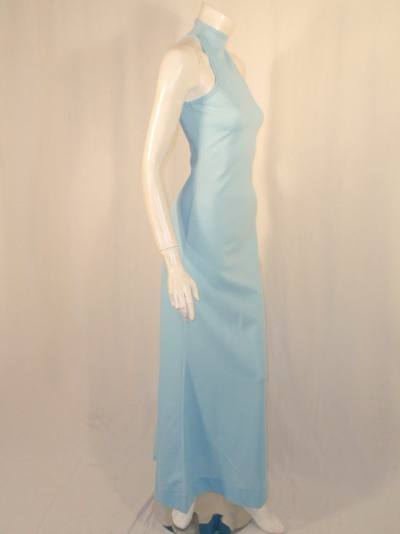 Rudi Gernreich Light Blue Knit Long Sleeveless Dress, High Neck 6