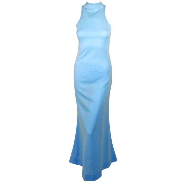 Rudi Gernreich Light Blue Knit Long Sleeveless Dress, High Neck 1