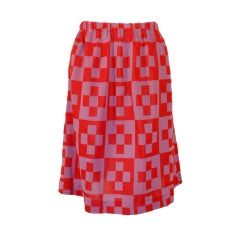 Rudi Gernreich Red & Purple Check Knit A-line Skirt