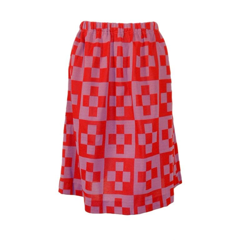 Rudi Gernreich Red & Purple Check Knit A-line Skirt