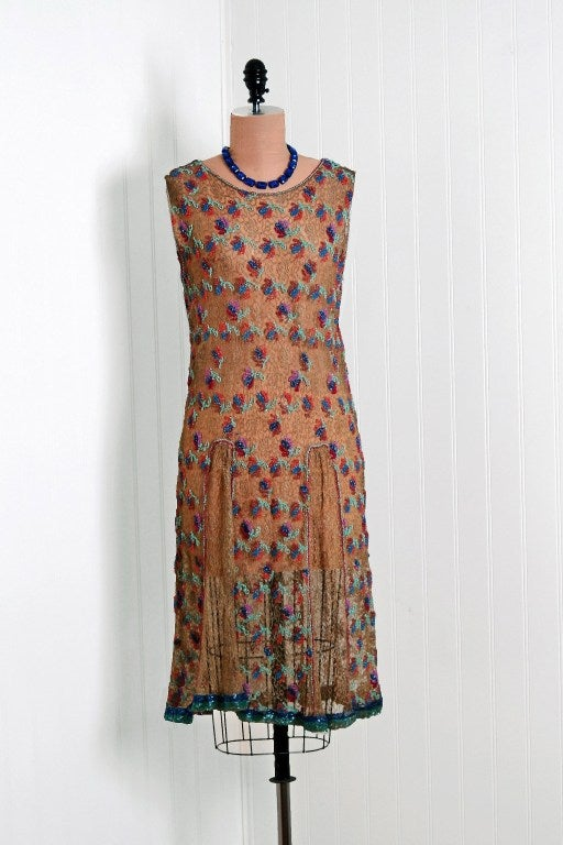 1920's Metallic-Gold Lace Dress with Colorful Floral Beadwork image 2