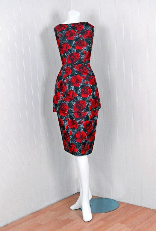 1950's Red-Roses Watercolor Micro-Sequin Silk Cocktail Dress 2