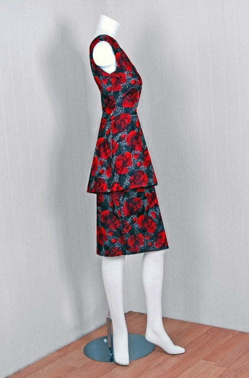 1950's Red-Roses Watercolor Micro-Sequin Silk Cocktail Dress 4