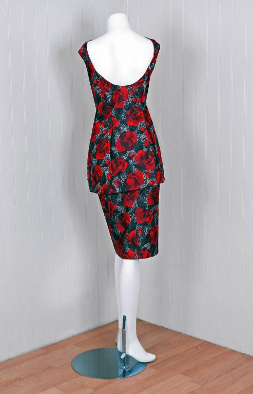 1950's Red-Roses Watercolor Micro-Sequin Silk Cocktail Dress 5