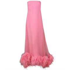 1960's Shannon Rodgers Pink Silk Chiffon & Ostrich-Feathers Gown