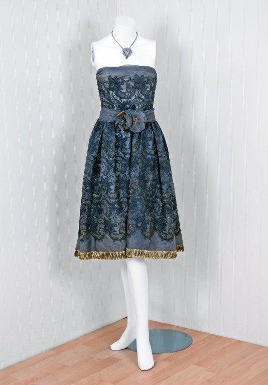 1950's Pierre Balmain Metallic Embroidered Organza Party Dress 2