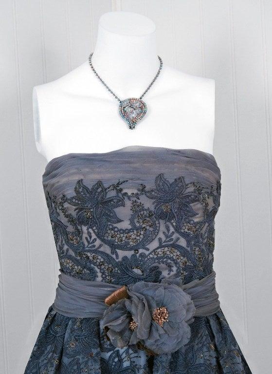1950's Pierre Balmain Metallic Embroidered Organza Party Dress 3