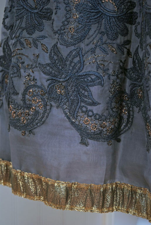 1950's Pierre Balmain Metallic Embroidered Organza Party Dress 5