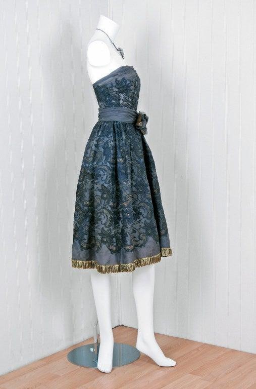 1950's Pierre Balmain Metallic Embroidered Organza Party Dress 6