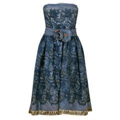 1950's Pierre Balmain Metallic Embroidered Organza Party Dress
