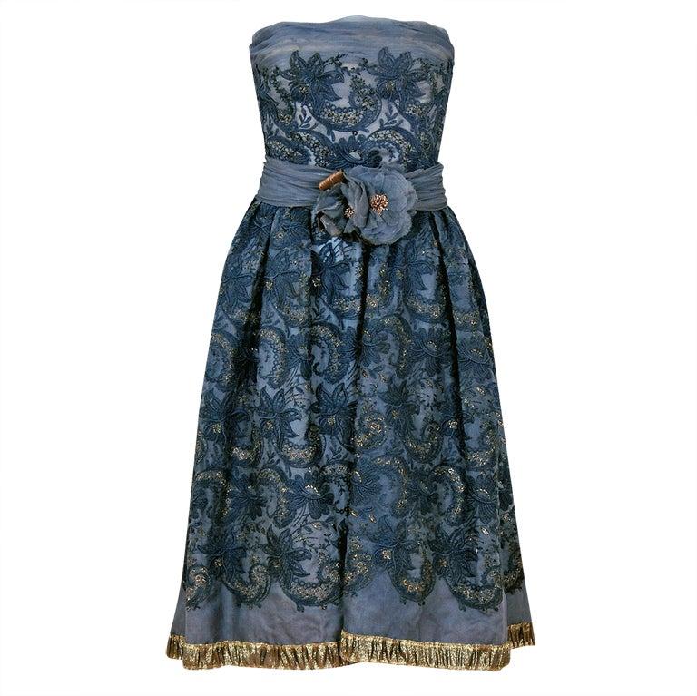 1950's Pierre Balmain Metallic Embroidered Organza Party Dress 1