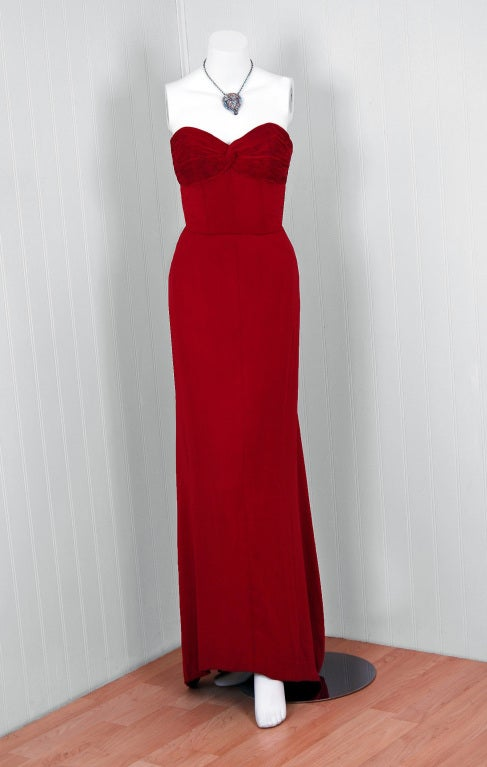 1940's Cranberry-Red Strapless Crepe Pleated-Back Evening Gown 2