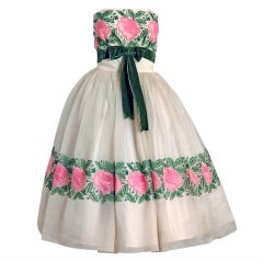 1950's Elegant Pink-Roses Embroidered Silk Organza Strapless Party Dress