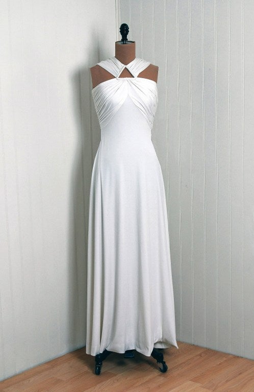 1970's Estevez White Grecian Goddess Duel-Trains Long Gown 2
