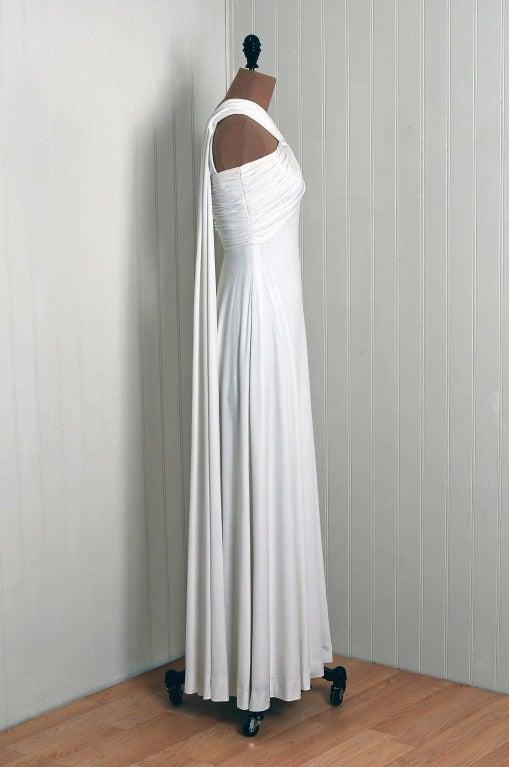 1970's Estevez White Grecian Goddess Duel-Trains Long Gown 3