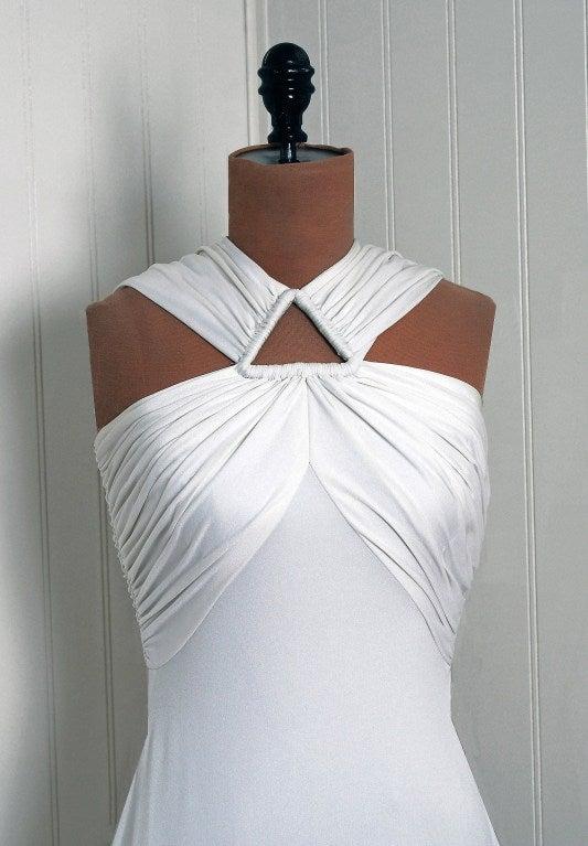 1970's Estevez White Grecian Goddess Duel-Trains Long Gown 4