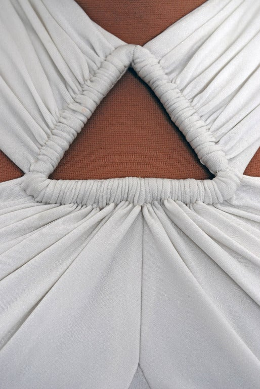1970's Estevez White Grecian Goddess Duel-Trains Long Gown 5