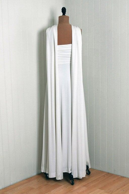 1970's Estevez White Grecian Goddess Duel-Trains Long Gown 6