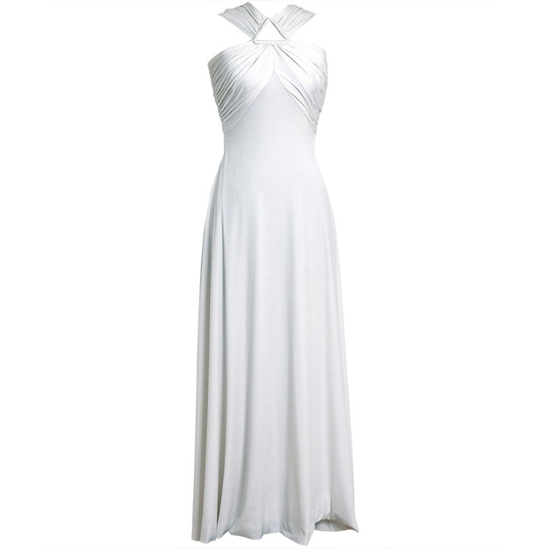 1970's Estevez White Grecian Goddess Duel-Trains Long Gown 1