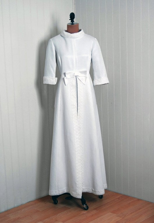 1960's Maggy Rouff Crisp-White Cotton Lace Tea-Length Gown 2