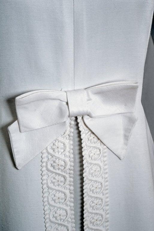 1960's Maggy Rouff Crisp-White Cotton Lace Tea-Length Gown 4