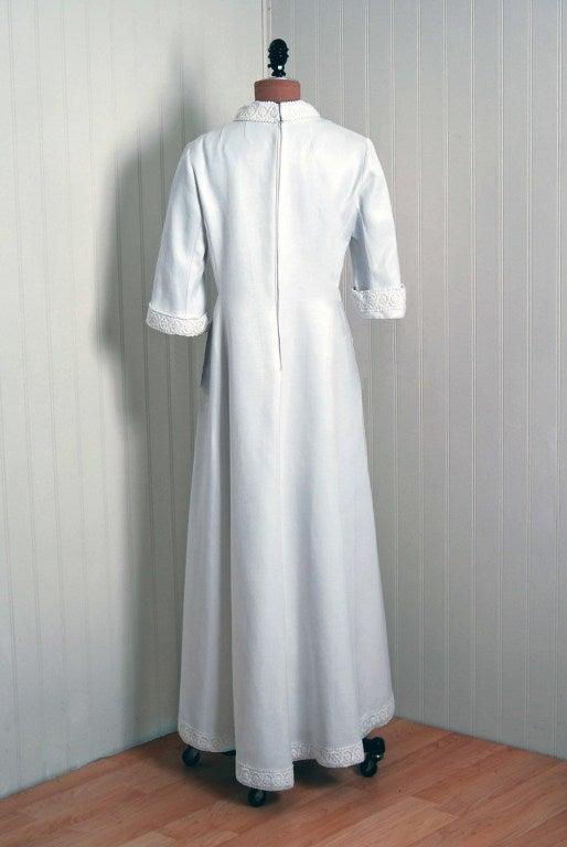 1960's Maggy Rouff Crisp-White Cotton Lace Tea-Length Gown 5