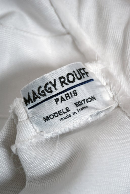 1960's Maggy Rouff Crisp-White Cotton Lace Tea-Length Gown For Sale 2